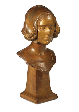 "Plaster bust by George Frampton entitled Enid the Fair with inscription ""To My Friends Mr and Mrs Okey 1912 Geo F."", 54 cm high"