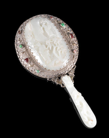 A jade mounted mirror with belt-hook handle