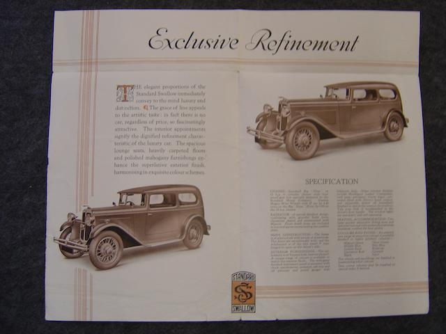 An SS Standard Swallow 4 page brochure,