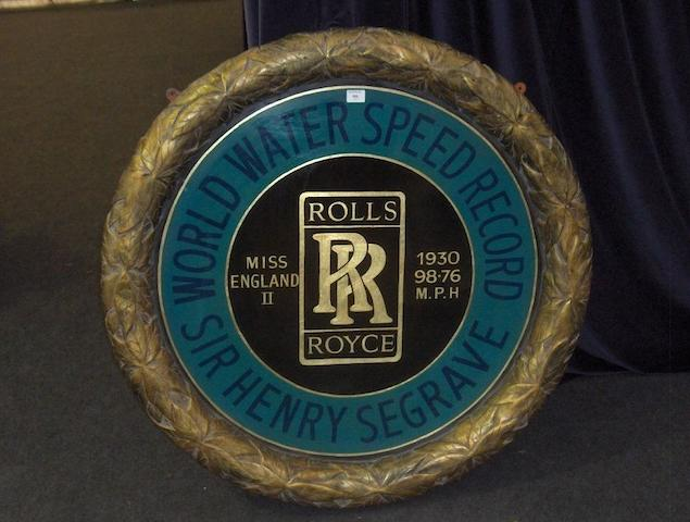 A hand-painted 'Sir Major Henry Segrave's World Water Speed Record Attempt' celebratory roundel,