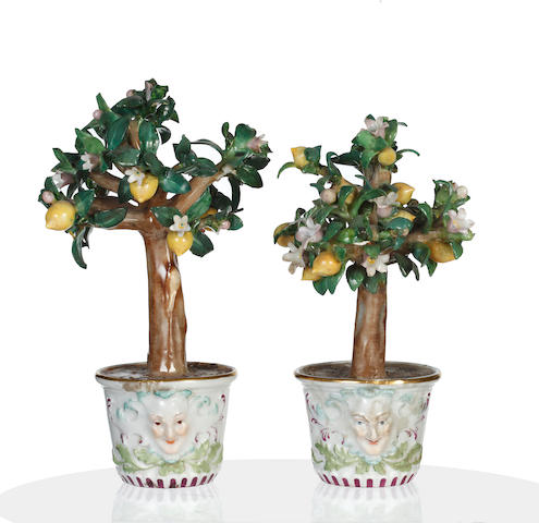 A pair of Meissen models of lemon trees in câche pots,