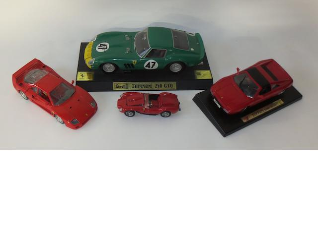 Four Ferrari scale models,
