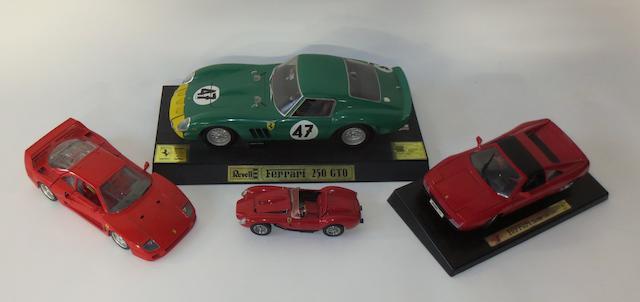 Four Ferrari scale models,