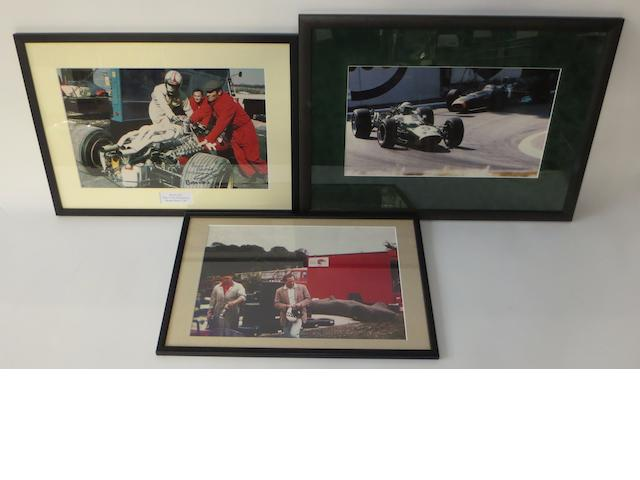 Three framed motorsport photographs,