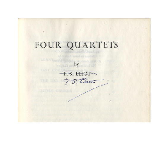 ELIOT (T.S.) Four Quartets, first English edition, SIGNED BY THE AUTHOR, 1944
