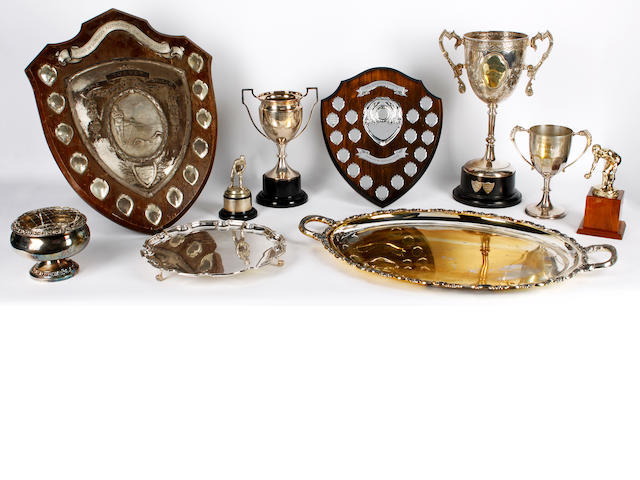 A continental silver coloured metal twin handled tray together with various silver plated trophies and related German, stamped '925 Sterling', weight 65ozs