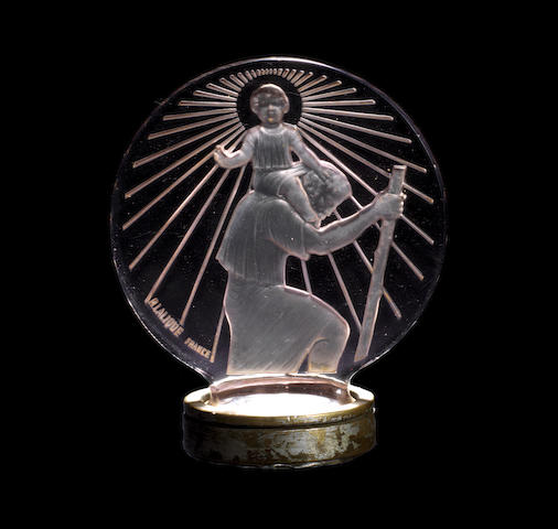 A Saint Christopher glass mascot by Rene Lalique, French, introduced 1st March 1928,