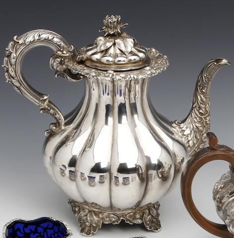 A George IV silver baluster coffee pot by the Barnard Brothers, London 1829