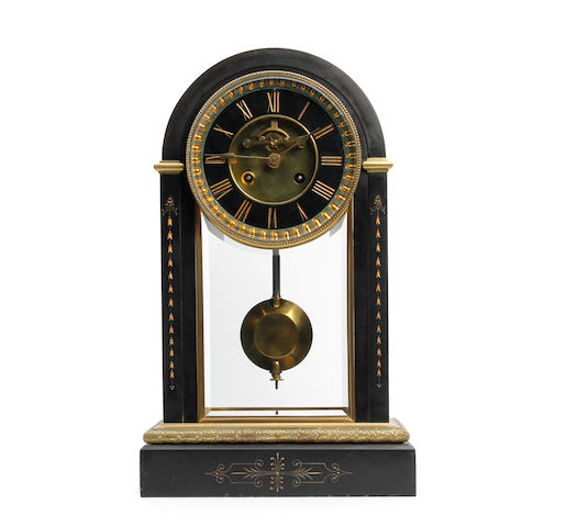 A fine late 19th century gilt brass and black marble mantel clock with Ellicot pendulum Samuel Marti & Cie