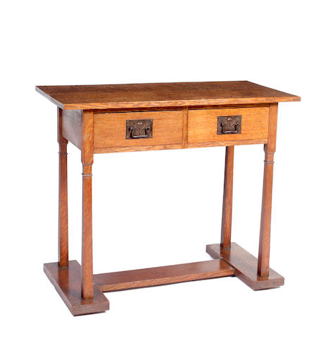 A Heal & Son Arts & Crafts oak plank top side table