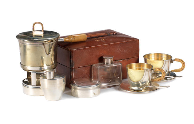 A fine and rare leather-cased two-person tea set, by Tonnel, 12 Rue de la Paix, Paris, c1909,