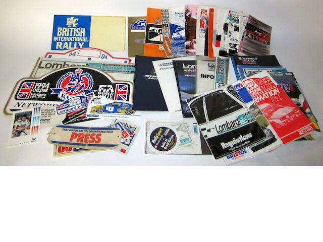 A collection of RAC Rally items and ephemera,