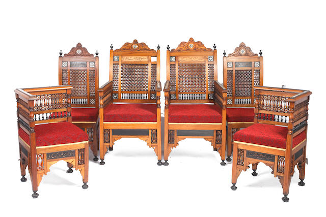 A late 19th century 6-piece Syrian suite, including a pair of armchairs