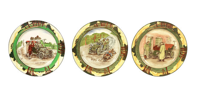 Three motoring series-ware plates by Royal Doulton,