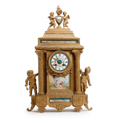 A late 19th century french gilt and enamel mantle clock The movement by A. D. Mougin