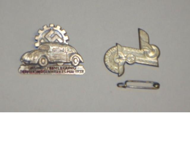 A  German VW Workers lapel badge, 1938 and a  Reichs Auto Bahn 200km lapel badge, 1936,