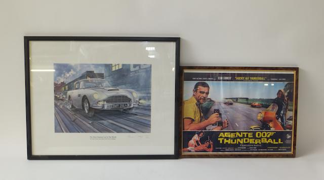"A James Bond Aston Martin DB5 ""The Most Famous Car In The World"" print after Massey,"