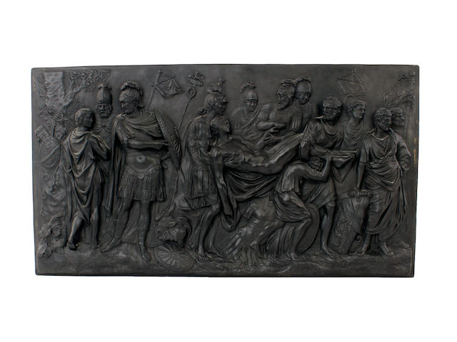 A Wedgwood large black basalt plaque, 'The Death of a Roman Warrior', late 18th century or 19th century