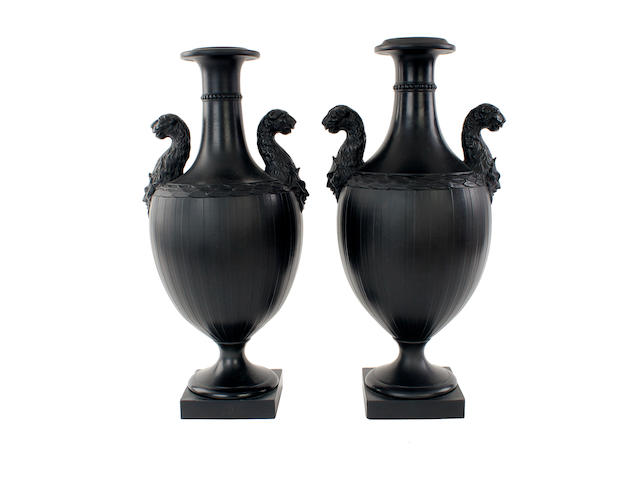 A pair of Wedgwood and Bentley black basalt vases, circa 1775