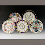 Five Derby and Chelsea-Derby plates, circa 1775-95