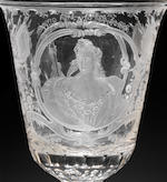 A Dutch engraved goblet with portraits of Prince William IV of Orange and Princess Anne, circa 1740