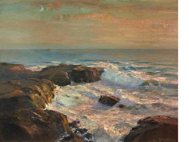 Julius Olsson (British, 1864-1942) Coastal scene, possibly Land's End