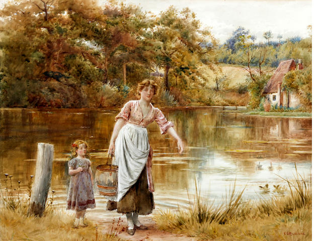 George Goodwin Kilburne, RI, RBA (British, 1839-1924) Mother and daughter fetching water