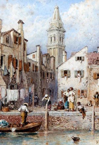 Myles Birket Foster, RWS (British, 1825-1899) 'Side Canal, Venice'
