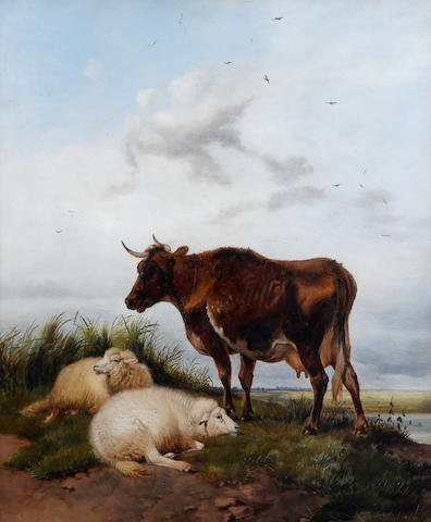 Thomas Sidney Cooper, RA (British, 1803-1902) Sheep and a cow resting in a landscape