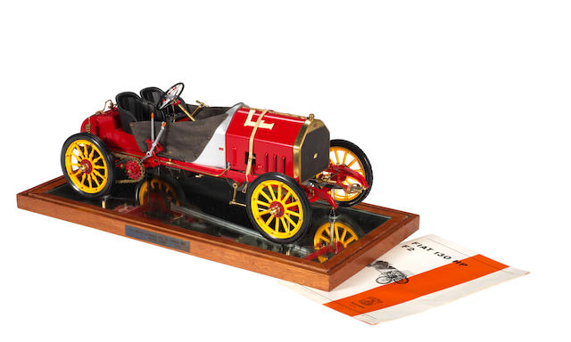 A factory made 1:8 scale model of the 1907 Fiat 130Hp F2 racing car by Pocher, Italian,