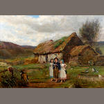 Carlton Alfred Smith, RI, RBA, ROI (British, 1853-1946) Going to School - The Crofter's Children