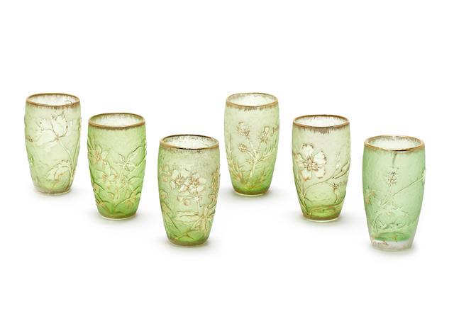 Daum A Set of Six Liqueur Glasses, circa 1900