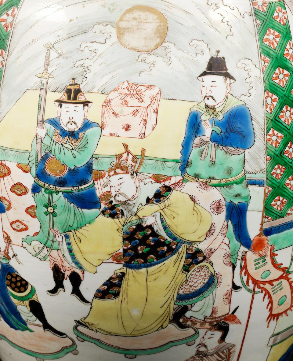 An elegant famille verte baluster vase Kangxi