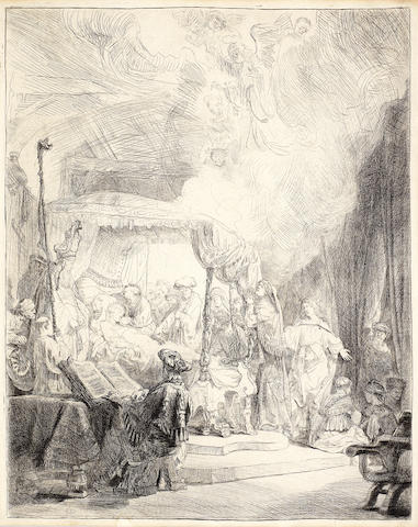 Rembrandt Harmensz van Rijn (Dutch, 1606-1669) The Death of the Virgin Etching, 1639, White and Boon's final third state (Nowell-Usticke's fourth state of five), with fine shading on the bedpost, on thick laid, with an 'IHS' within a flower watermark, trimmed inside lower platemark, with small margins elsewhere, 403 x 313mm (15 7/8 x 12 3/8in)(PL)
