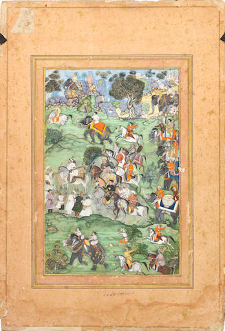 A Mughal miniature painting depicting a hunting scene; verso with nasta'liq calligraphic exercise Northern India, Akbar period, late 16th Centuryframed as one