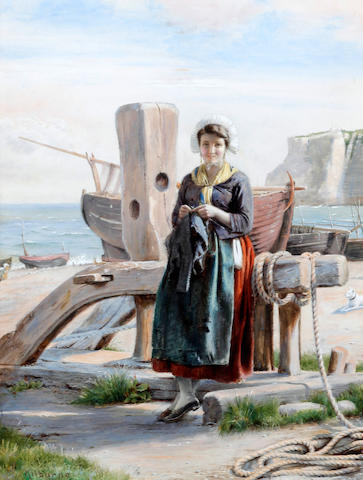 George Goodwin Kilburne, RI, RBA (British, 1839-1924) A Breton fishing maid