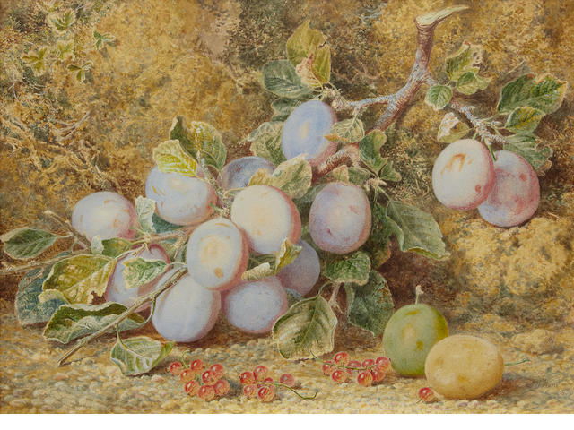 William Henry Hunt, OWS (British, 1790-1864) Still life of plums and redcurrants
