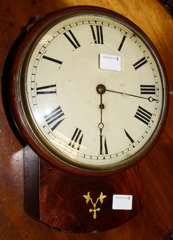 An early 19th century mahogany drop dial wall clock
