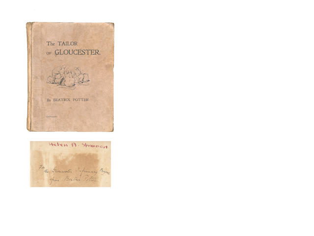 "POTTER (BEATRIX) The Tailor of Gloucester, FIRST PRIVATELY PRINTED EDITION, INSCRIBED BY THE AUTHOR ""For Gloucester Infirmary Bazaar from Beatrix Potter"" on front free endpaper, 1902"