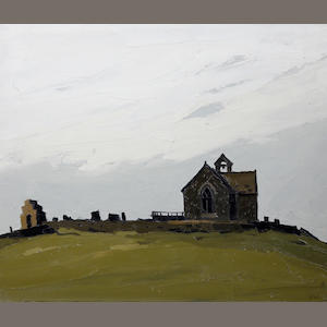Sir Kyffin Williams R.A. (British, 1918-2006) 'Llanryhwydrs - (the artist's grandfather's church)'