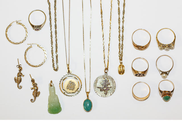 A collection of assorted rings, necklaces and earrings