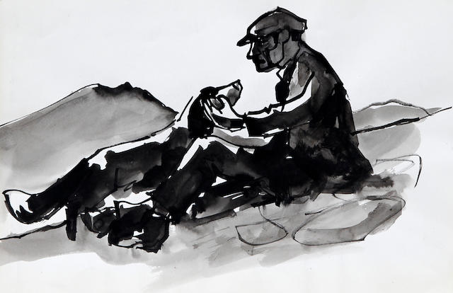 Sir Kyffin Williams R.A. (British, 1918-2006) Farmer and dog seated on a Welsh hillside