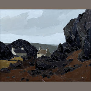 Sir Kyffin Williams R.A. (British, 1918-2006) Welsh landscape with rocks, cottages and hillsides