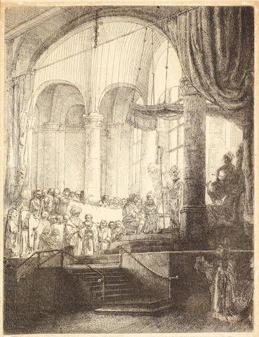 Rembrandt Harmensz van Rijn (Dutch, 1606-1669) Medea: or The Marriage of Jason and Creusa Etching, 1648, the final fifth state, with Juno's cap replaced with a crown and the lower part of the margin cut away and the verses and signature removed, on wove, 235 x 177mm (9 1/4 x 6 7/8in)(PL)