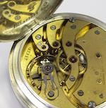 Ulysse Nardin. A silver keyless wind open face pocket watch with up and down dial in fixed wooden boxCase No.397993, Dial, Movement and Box No.27997, Circa 1890