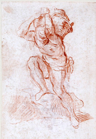 French School, (18th century) Man carrying bricks