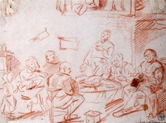 Dutch School, (17th century) Interior scene with figures gathered around a table