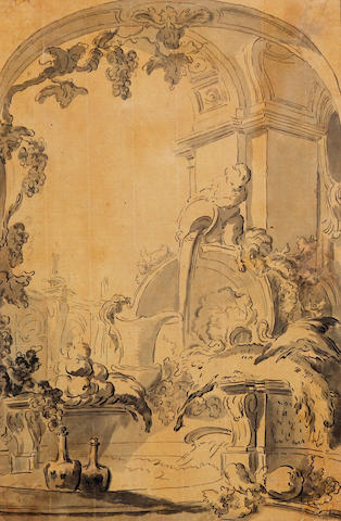 Dutch School, (18th century) A design for a wall painting above a fountain