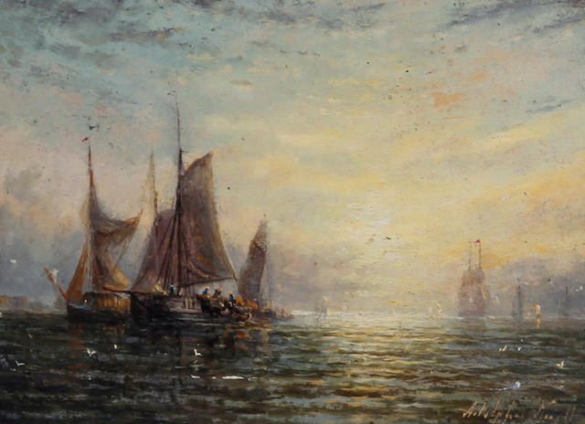 Adolphus Knell (British, active 1860-1890) Shipping in a calm