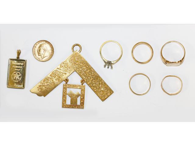 A collection of yellow precious metal,
